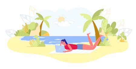 Girl Blogger Rest on Tropical Beach with Laptop. Ilustración de vector