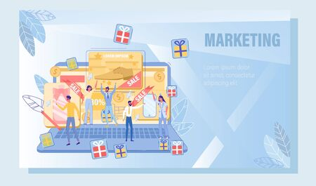Contextual Advertising, Audience with Common Interest Targeting. Potential Buyer Attraction via Pay-Per-Click Advertisement. Promotion Service for Business Growth and Development. Vector Illustration