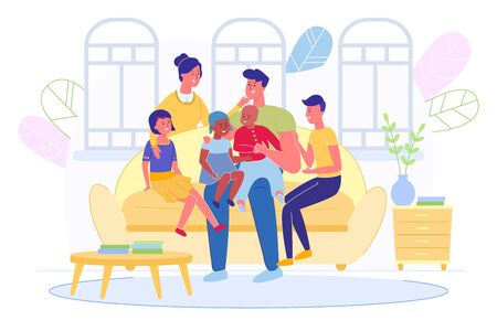 Happy Smiling Multiracial Big Family with Children Sitting on Sofa in Living Room at Home. Kids of Different Nationalities. Parents with Son and Daughters Speaking Together. Vector Illustration