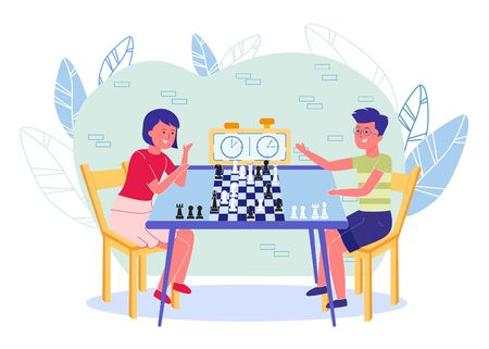 Kids Cartoon Characters Playing Chess in Club or School. Extracurricular or Out-of-school Studying and Intelligence Development. Logic Games for Childrens Education. Flat Vector Illustration.