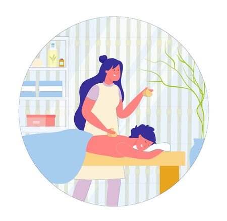Relaxing Thai Massage with Hot Herbal Bags Cartoon. Spa Salon Specialist Holds Bags in Hands and Puts them on Clients Back. Behind Couch there Shelf with Cosmetic and Health Products. Ilustración de vector