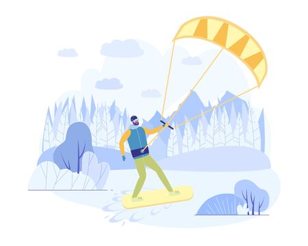 Riding Board in Snow, Kiteboarding with Parachute. Athlete in Warm Clothes Quickly Move on Snowboard. Belt with Air Transport Attached to his Belt. Outdoor Activity in Snowy Resort.