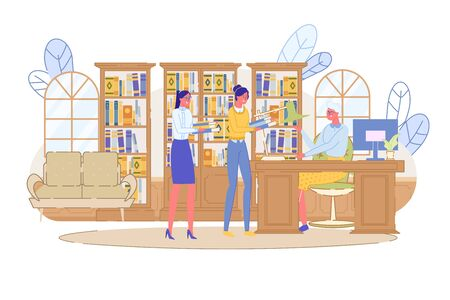 Small People Queue in Public Library or Bookstore. Two Young Woman Borrowing Book and Magazine for Reading or Learning. Librarian Sitting at Table. Bookcase Furniture. Vector Illustration