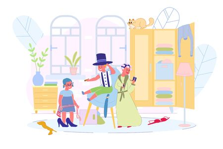 Happy Children Playing with Adults Clothes at Home. Little Fashionmonger on High Heals Shoes in Eyeglasses. Boy in Hat Cylinder with Cigar. Young Girl in Bathrobe, Curlers Making Make-up