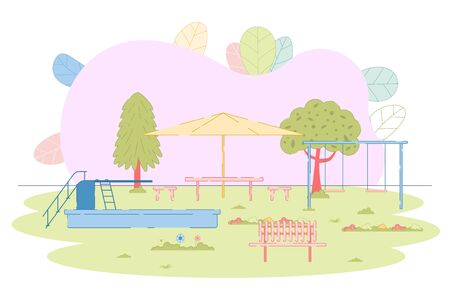 Urban Summer Public Garden and Playground with Attractions for Kids. Natural Landscape. Place for Children Rest and Recreation with Swimming Pool, Bench, Shelter, Swings. Vector Illustration Illustration