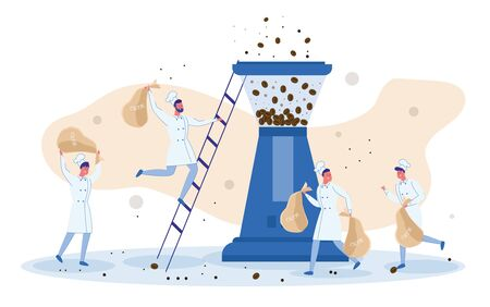 Tiny Kitchen Helpers. Four Little Men Wearing White Toques Making Human Chain to Deliver Bags with Coffee Beans, Lift Them Up Step Ladder to Grinder to Get Fresh Aromatic Perfect Grind. Ilustração