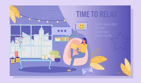Nice Online Conversation in Social Network Poster. Young Woman Giving Positive Feedback in Social Media Network, Messaging in Night Chat via Laptop at Home. Virtual Communication. Vector Illustration