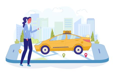 Girl Waiting for Car and Watch Location in City. Woman Stands with Smartphone in her Hand. She Uses Special Application to See Called Machine Movement. Taxi Transport Standing on Electronic Device.