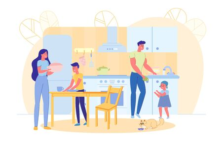 Happy Family Together and Household Chores at Home