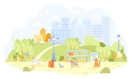 Lot Stray Cats in City Park Unattended, Cartoon.