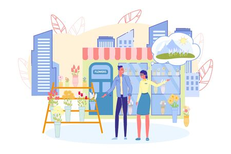 Floral Street Kiosk Facade and Outer Stall with Flowers. Florist Girl and Buyer Choosing Bouquet. City Life Scene with People Cartoon Characters on Urban Skyline Background. Flat Vector Illustration.