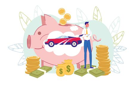 Happy Businessman, Big Piggy-Bank with Car Inside, Money Around. Man Dreaming about Buying New Expensive Automobile. Earnings Savings and Financial Expenditures Planning. Vector Illustration