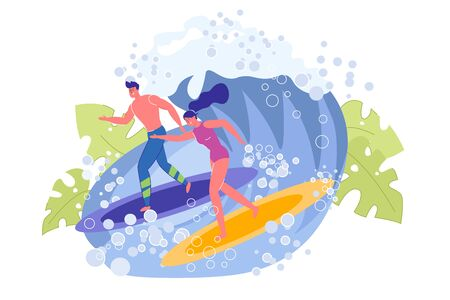Beautiful Sportive Guy and Girl Surfers on Wave. Speed Sea or Ocean Racing on Board. Summer Water Sport and Active Recreation. Air Bubbles and Tropical Leaves Design. Vector Illustration  イラスト・ベクター素材