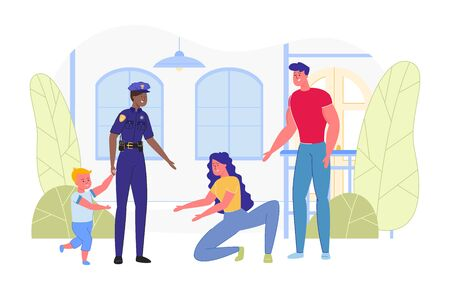 Police Officer Returns Lost Child to Parents. Law Enforcement Agencies Responsibilities on Search Missing People, Population Security and CIvil Cases Investigation. Flat Cartoon Vector Illustration.