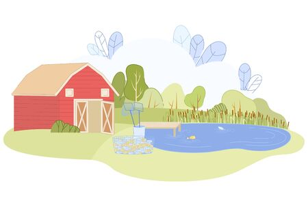 Commercial Eco Fishing Farm. Red Barn House on River Bank Vector Illustration. Fish in Blue Water Pond. Organic Tilapia Salmon Carp Breeding. Fresh Production for Restaurant Business Illustration