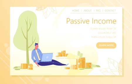Site Landing Page about Passive Income Learn, Slide. Man by High Tree Sits with Laptop on his Lap. Around it Big Golden Shiny Coins. He Spends Little Time at Work, and Earns Enough Money.