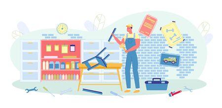 Man in Uniform Making Chair in Workshop or Garage. Illustration