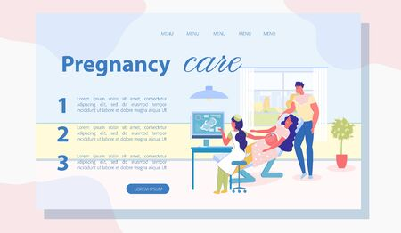 Obstetrician Gynecologist Performing Sonography. Expectant Parents in Ultrasound Office. Doctor Examining Pregnant Woman. Supporting Father Discussing Newborn Issues. Landing Page with Copy Space.
