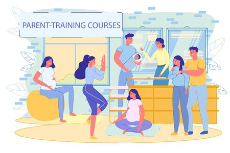 Future Young Parents at Newborn Baby Care Training. Pregnant Wife and Husband at Maternity Courses. Family Support during Pregnancy. Mother and Father. Motherhood and Parenting. Vector Illustration
