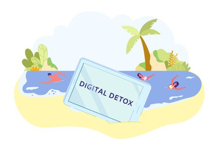 Phone in Sand, Inscription Digital Detox on Screen. Guy and Women Swim in Ocean. They Forgot about Phone and other Gadgets and Fully Relax on Beach with Beautiful Tropical Trees and Plants.  イラスト・ベクター素材