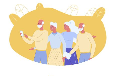 Elderly Active and Progressive People Group, Doing Well with Phone Devices and Technologies. Senior People with Active Lifestyle Position, Adapted to Modern Life. Flat Cartoon Vector Illustration.