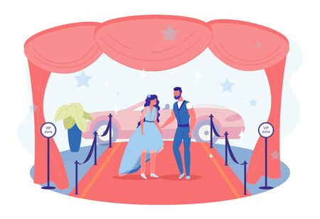 Celebrity Couple Going Public, Making Their Big Red Carpet Debut. Brunette with Loose Hair Wearing Blue Dress and Her Bearded Date. VIP Zone. Luxurious Decorations. Shiny Car with Convertible Roof. Ilustração
