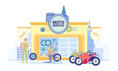 Service Stations for Motor Vehicles Flat Cartoon Vector Illustration. Repairman in Uniform Fixing Whell. Man Controlling Work, Holding Checklist Document. Moto Shop. Motorcycles on Street.