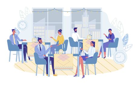 Men and Women Communicating on Speed Dating at Cafe. Couples Sitting at Tables with Clock Alarm Timer. Conversation on Quick Dates. People Searching Soul Mates on Meeting. Vector Illustration