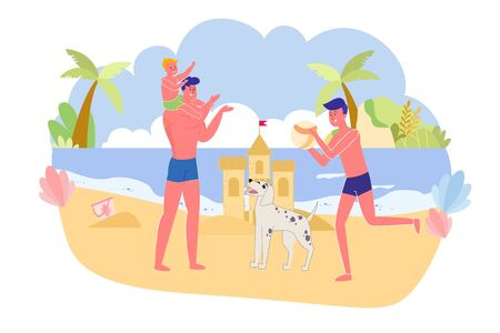 Father with Sons and Dog Playing Ocean, Cartoon. Family Male Half got Rest in Free Time. Youngest Son Sit on Fathers Shoulders, and Eldest throw Ball to Dad. Dog Stand between them, Look at Game.
