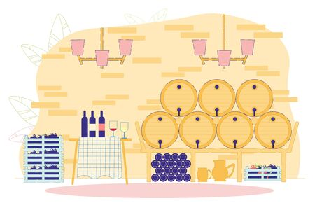 Red and White Wine Production Factory Flat Cartoon Vector Illustration. Winery Process. Grape Alcohol Drink in Wooden Barrels in Basement. Served Table with Bottles and Glasses. Berries.