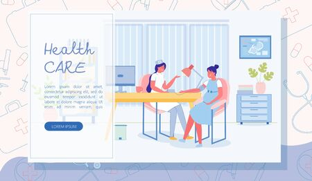 Pregnant Woman Visiting General Practitioner in Her Office. Lady Therapeutist Wearing White Coat, Taking and Reading Expectant Moms Blood Pressure. Flat Vector Landing Page. Copy Space for Extra Text.