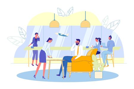 Air Terminal Passengers Vip Hall Interior with Travelers and Service Staff Cartoon Characters. Comfortable Special Terms and Services for People Traveling in Business Class. Flat Vector Illustration.