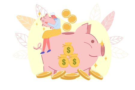 Happy Old Lady Kissing Pig Money-Box. Mature Woman Sitting on Big Piggy-Bank with Money Bags Design. Gold Coins around. Profitable Pension Savings. Investment in Retirement. Vector Illustration