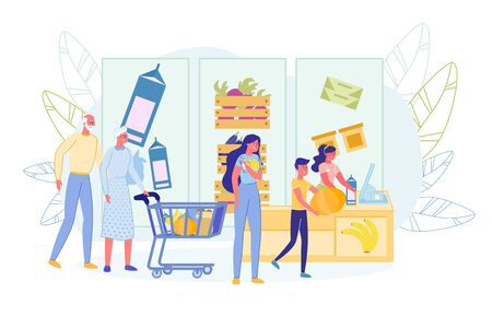 Grandparents with Grocery Cart Stand at Cash Desk. Old Customers in Big Queue. Female Cashier Serving Senior people, Adult Mother with Child Son. Greengrocery Shop. Vector Flat Illustration