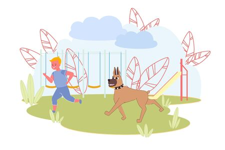 Scared Little Boy Crying Run Away from Big Angry Dog. Playground with Wooden Fence and Sled on Yard. Frightened Cartoon Child Character Need Help. Summer Time. Vector Illustration Design