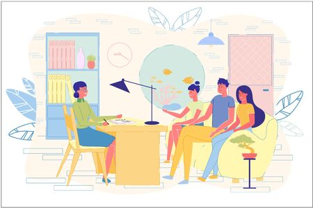 Married Couple with Child Visiting Family Psychologist. Relationship Problems between Parents and Teen Daughter Solve at Doctor Appointment. Psychotherapy. Kid Stress Treatment. Vector Illustration Ilustracje wektorowe