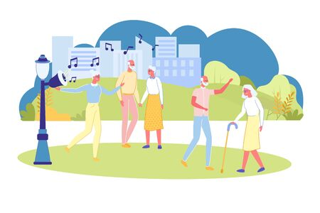 Dance Party for Elderly People in Public City Park. Retirement Age Activity and Recreation Opportunities. Senior People Social Care and Effective Socialization. Flat Cartoon Vector Illustration.