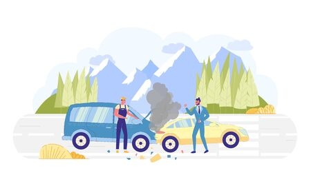 Car Accident on Road with Nature Background Flat Cartoon Vector Illustration. One Driver Swearing, Repairman in Uniform Making Excuses. Smoke from Open Hood in Van. Transport Incident.