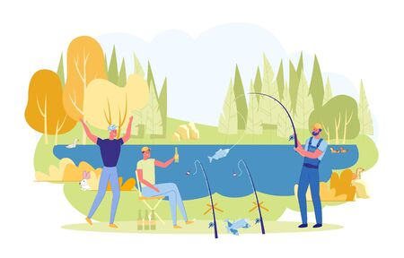 Fishermen Sitting at River Bank with Rods Flat Cartoon Vector Illustration. Friends Fishing Outdoor. Having Summer Hobby, Recreation in Leisure Time. Guys Drinking Beer and Catching Fish.  イラスト・ベクター素材