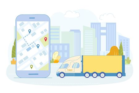 Truck with Things Hit Road to Marked Destination. Cargo Taxi with Things Customers Drives Along City Road Past Modern Buildings. In Companys Special Application Online Map to View Location Transport.