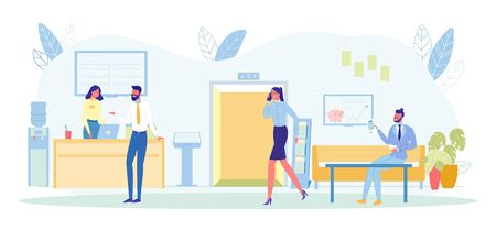Visitors in Queue to Bank Managers in Department Flat Cartoon Vector Illustration. Business Lady Talking on Mobile Phone Going to Elevator. Client Talking to Clerk. Man Sitting on Sofa with Document.