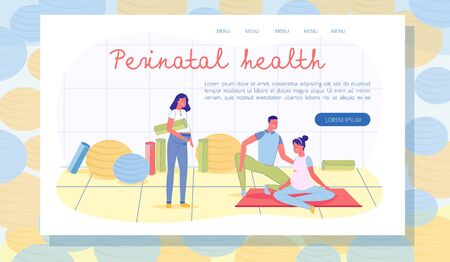 Happy Spouses Visiting Classes for Expectant Parents. Loving Husband Helping Wife to Train Proper Breathing When Delivering Baby. Young Pregnant Brunette with Yoga Rug. Landing Page with Copy Space.