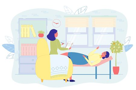 Patient Shares her Feelings with Psychotherapist. Client Lies on Comfortable Couch and Tells Doctor about aer Internal Condition. Female Specialist Makes Notes on Paper to Remember Details.