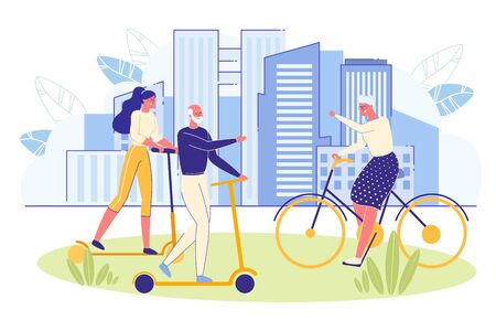 Elderly Energetic and Sporty People Riding Bicycle and Scooter in City Park. Senior People Healthy Lifestyle and Positive Thinking. Retirement Age Activity and Joy. Flat Cartoon Vector Illustration.