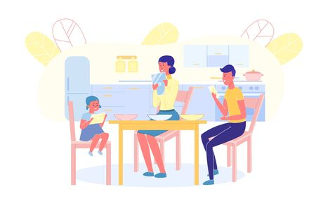 Family of Mother, Father and Daughter Sitting at Table on Chair in Dinning Room and Holding Mobile Phone to Communication or Leisure. Little Child Playing on Electronic Device with Parents