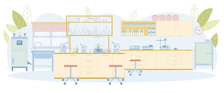 Modern Quality Control Laboratory Empty Interior with Sink, Wall Mounted Furniture, Microscope, Thermostat, Cloud Point Analyzer, Spectrophotometer, Cabinet, Shelf Box, Folder Row, Glassware