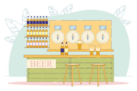 Alcohol Drink Pouring from Pub Barrel with Handle to Glass on Desk Flat Cartoon Vector Illustration. Craft Family Production. Bottles on Shelves. Stools near Bar Counter. Light Drink.
