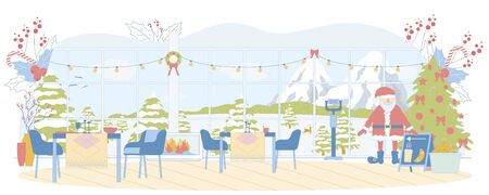 Breathtaking View through Mountain Restaurant Windows. Snowy Peaks and Slopes. Christmas Tree, Santa Claus Toy, Laid Tables Waiting for Customers. Background with Red Berries and Candy Canes.