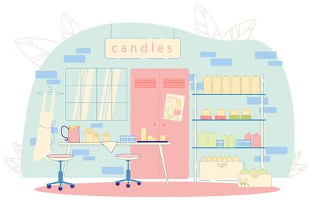 Family Candle Production Flat Cartoon Vector Illustration. Manufacturing with such Elements as Wax, Wicks, Dyes, Packaging. Table with Ready Made Candles. Shelves with Different Objects.