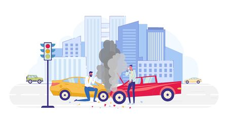 Car Accident on Road at City Background Flat Cartoon Vector Illustration. Damaged Automobiles. Crashed Transport with Smoke from Hood. Driver Taking Photos, Guy Talking on Mobile Phone.